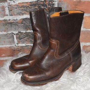 FRYE Brown Leather Distressed Motorcycle BOOTS 6